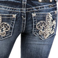 Miss Me studded fleur di lis bootcut jeans - up to size 34