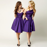 2016 Vestido de Noiva Purple Short Bridesmaid Dresses Knee Length One Shoulder Cheap Party Dress For Wedding Maid of Honor Gowns