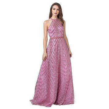 Halter Sequins Long Prom Dress with Open-Back Pink