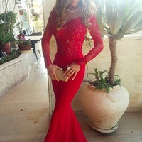 Long Sleeve Red Lace Mermaid Prom Dresses,Evening Dresses