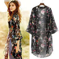 Women Lady Clothing Retro Floral Boho Hippie Vintage Casual Loose Chiffon Kimono Cape Cardigan Blouses Shirts Summer Outfits