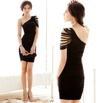 Womens Asymmetric One Shoulder Fringe Stylish Ruched Cocktail Party Mini Dresses