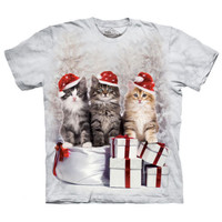 PRESENTS CATS The Mountain Christmas Kittens Santa Hat Holiday T-Shirt S-3XL NEW