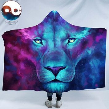 Firstborn by JoJoesArt Hooded Blanket for Adults Sherpa Fleece Psychedelic Lion 3d Print Microfiber Wearable Blanket on Bed Sofa