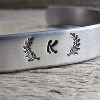 INITIAL BRACELET Laurel Wreath Hand Stamped Cuff Silver Aluminum Jewelry Handstamped Name Letter Alphabet Initials Trendy Fashion Jewellery