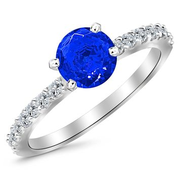 CERTIFIED | Classic Side Stone Pave Set Diamond Engagement Ring with a 3 Carat Blue Sapphire Heirloom Quality Center (Platinum, Yellow, White, Rose)