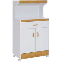 Kitchen Microwave Cart in White with Beech Accents