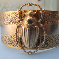 Scarab cuff Egyptian revival lucky scarabs jewelry gold scarab bracelet