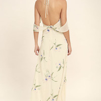 Tuned In Light Beige Floral Print Maxi Dress