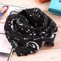 CREYU3C New Fashion Musical Note Chiffon Scarves Women's Scarf Shawl Long Stoles Spring Muffler Chiffon Infinity Scarf New Hot Selling