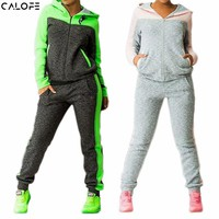 CALOFE 2018 Autumn Winter Two-piece Tracksuit Jogging Suits For Women Sport Suits Patchwork Hooded Running Sets Sweat Pants