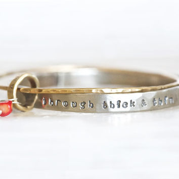 Gift - Gift for Her - Through Thick & Thin - One Thin Gold Bangle, One Thick Silver Bangle, Coral and Turquoise Beads, Infinity Personalized