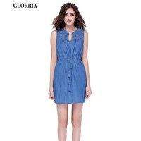 Glorria New Summer Style Casual Women Denim Jeans Sleeveless Dresses Tunic Waist Tank Super Mini Dress Vestidos, Blue, S, M, L