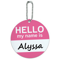 Alyssa Hello My Name Is Round ID Card Luggage Tag