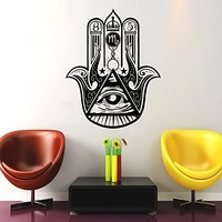 Wall Decal Vinyl Sticker Decals Home Decor Hamsa Hand Fatima Yoga Mandala Fish Eye Indian Buddha Ganesh Lotus Floral Pattern Namaste Bedroom (6149)