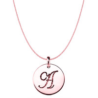 """A"" 14K Rose Gold Script Engraved Initial Disk Pendant"