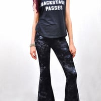 Tie Dyed Bell Bottoms Washed Black Color - Extra Long High Waisted Bellbottoms - Boho Rocker - Tie Dye Flare Leg Pants Sizes XS, S, M, L, XL