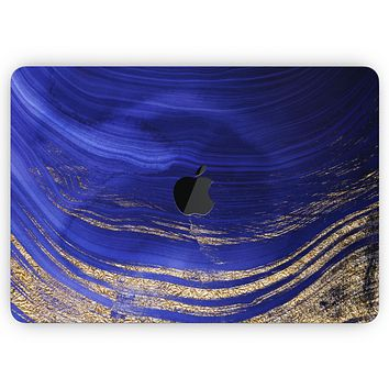 """Vivid Agate Vein Slice Blue V9 - Skin Decal Wrap Kit Compatible with the Apple MacBook Pro, Pro with Touch Bar or Air (11"""", 12"""", 13"""", 15"""" & 16"""" - All Versions Available)"""