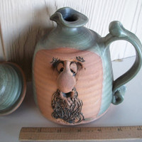 Vintage Pitcher With Lid Funny Face Art Sculpture 1970s Green / Brown OOAK  5 And 7/8 Inches Tall  X  5 & 3/4 inches Wide With Handle