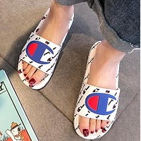 Champion Fashion Women Men Casual Flats Beach Sandals Slippers Shoes White