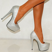 WOMENS SILVER GOLD GLITTER SPARKLY COURT PARTY HIGH HEELS SIZE UK 4 5 6 SHOES