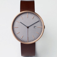 203 Series (PVD Rose Gold / Walnut Leather)   Uniform Wares