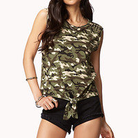 FOREVER 21 Studded Camo Muscle Tee Olive/Beige Large