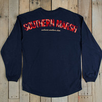 Southern Marsh Rebecca Tartan Long Sleeve Jersey- Navy