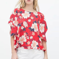 Red Floral Print Lounge T-Shirt