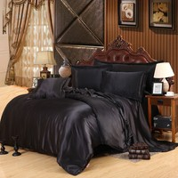 2016 Hot Silk Quilt Black Satin Sheets Bed Linen Cotton Solid Satin Duvet Cover Set King Size Bedsheet 4pcs of Bedding Sets