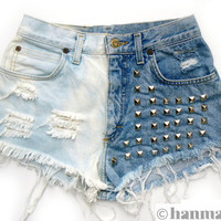 """Hanmattan """"DOMINO"""" vintage high waisted studded denim cutoff shorts ombre dip dyed hot pants"""