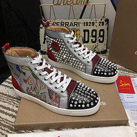 CL Christian Louboutin Women's Leather Fashion High Top Sneakers Shoes