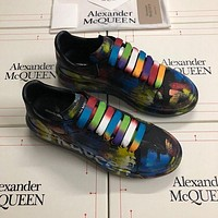 Alexander McQUEEN Men Fashion Boots fashionable Casual leather Breathable Sneakers Running Shoes-87