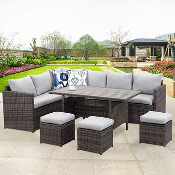 Wisteria Lane Patio Furniture Set,7 PCS Outdoor Conversation Set All Weather Wicker Sectional Sofa Couch Dining Table Chair with Ottoman,Grey Grey