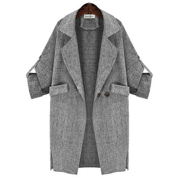 Roll-Up Notched Button Coat