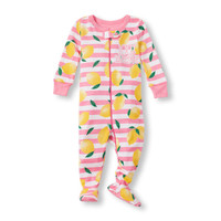 Baby Girls Long Sleeve '100% Squeezable' Stripe and Lemon Print Footed Stretchie