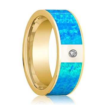 Men's 14k Yellow Gold and Diamond Wedding Ring with Blue Opal Inlay Flat Polished Design - 8MM