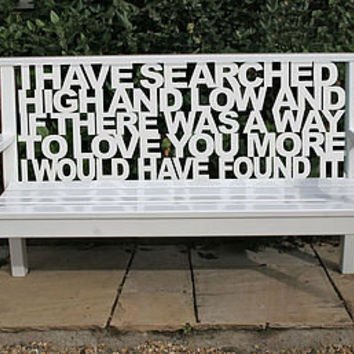 personalised wooden bench by cut by fire   notonthehighstreet.com