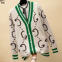 GUCCI 2018 new women's loose sweater knit cardigan coat #4