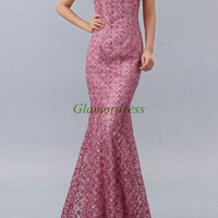 mermaid russet-red lace wedding dresses /long chinese cheongsam with rhinestone /new design high collar dress for evening party/unique gowns