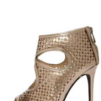 Anne Michelle Rapture 50 Pewter Metallic Cutout Ankle Booties