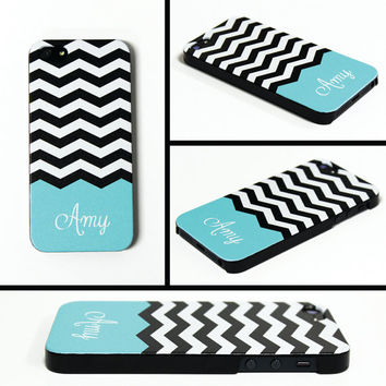 iPhone 5 Cell Phone Case Black White Chevron Apple Custom Color Personalized Name Monogram Protective Black Plastic Hard Cover VM-1004