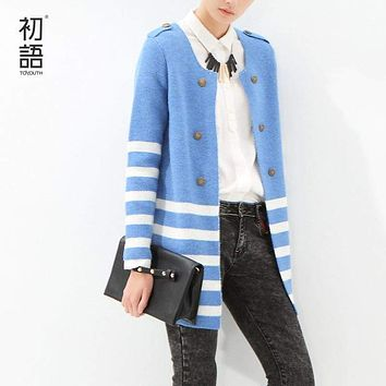 Striped Mid-Length Cardigan