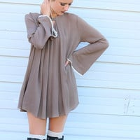 Blooming Gardens Mocha Bell Sleeve Keyhole Trapeze Dress