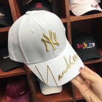 """New York Yankees"" Unisex  Fashion Personality Letter Embroidery Flat Cap Baseball Cap Couple Casual Sun Hat"