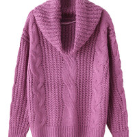 Purple High Neck Chunky Cable Long Sleeve Knit Sweater