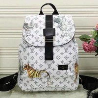 Louis Vuitton animal printing fashion shoulder bag backpack F