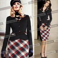 New Womens Elegant Vintage Pinup Rockabilly Patchwork Long Sleeve Tunic Wear To Work Cocktail Party Bodycon Dress = 1956667844