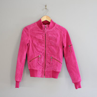 Free Shipping Pink Suede Leather Bomber Jacket Petite Pink Leather Jacket Tight Fit Bomber Vintage Minimalist Vintage 90s Size XS