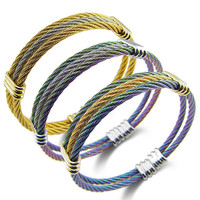 Fashion Stainless Steel Cable Wire line Bracelets For Women 3 Color Twisted Chain Cuff Bracelets & Bangles Femme Bijoux-in Bangles from Jewelry & Accessories on Aliexpress.com | Alibaba Group